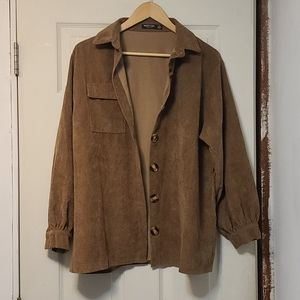 Oversized corduroy brown button up shirt
